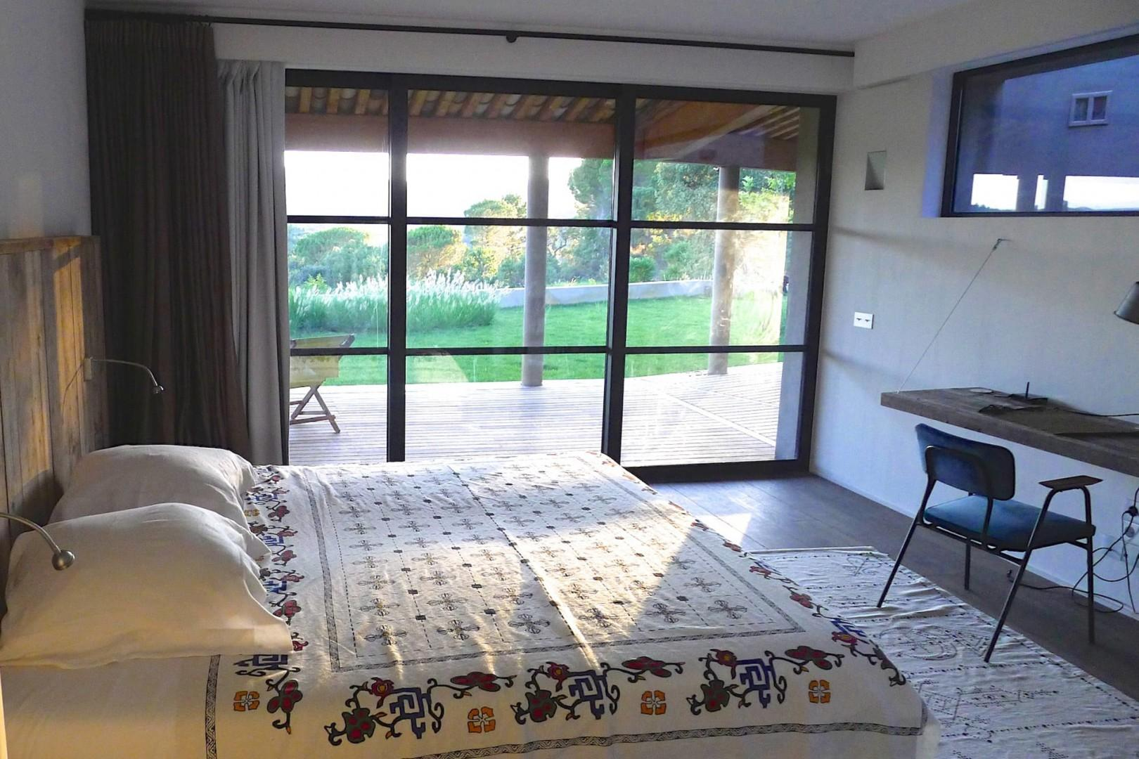 One of the six spacious bedrooms in this family-friendly villa