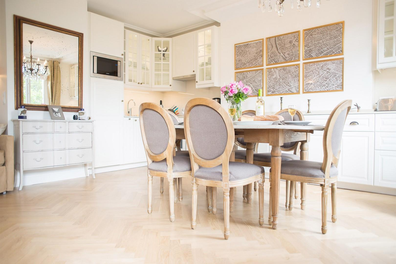 The open kitchen and dining area has an airy feel.