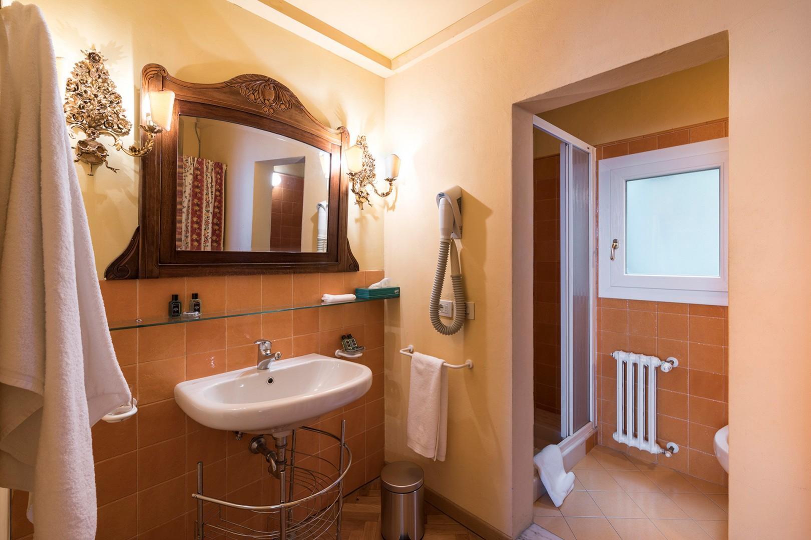 Bathroom 1 is en suite to bedroom 1 with a shower, sink, toilet and bidet.