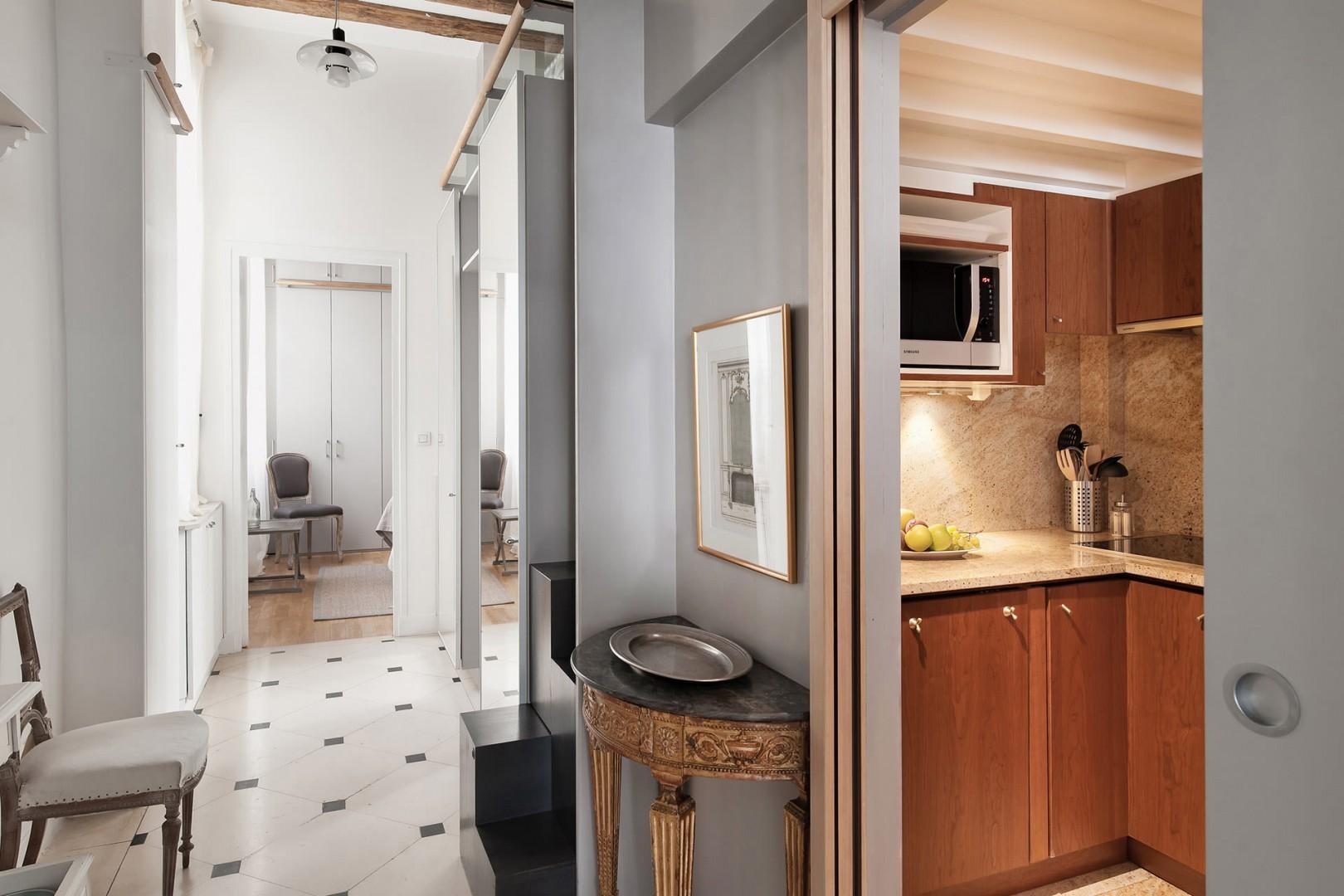 View of the kitchen from the hallway