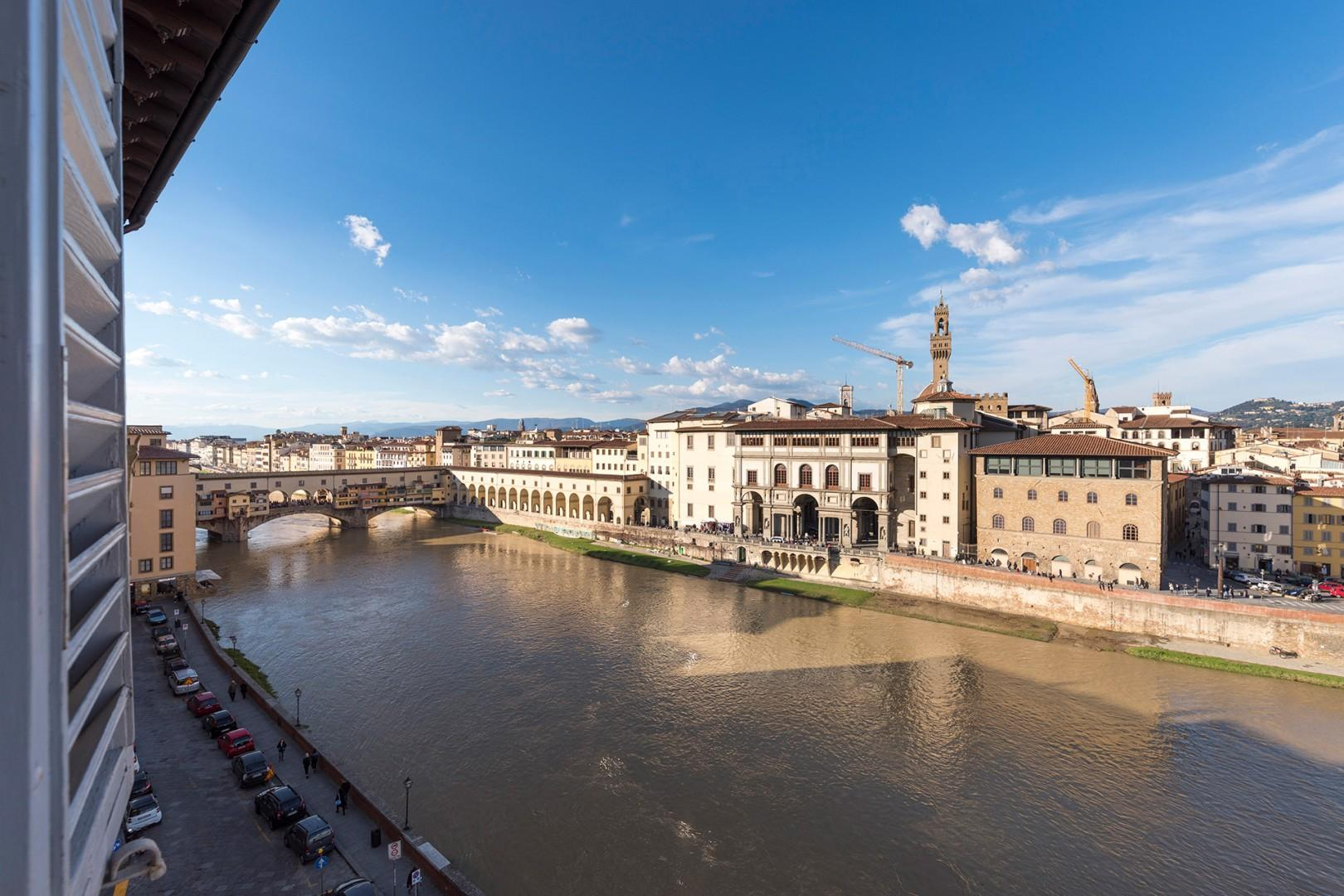 The view from this apartment is wonderful_ the Arno river, the Uffizi and the Ponte Vecchio.