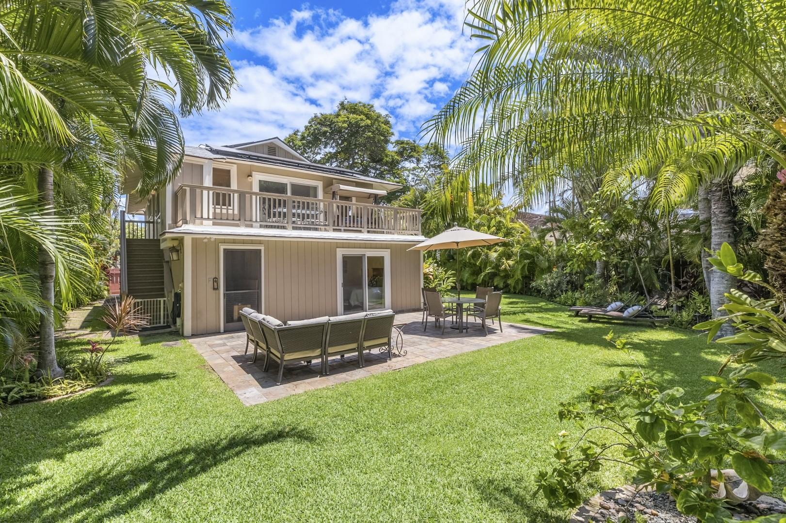 Large Private Yard with Lush Tropical Garden and Seating areas
