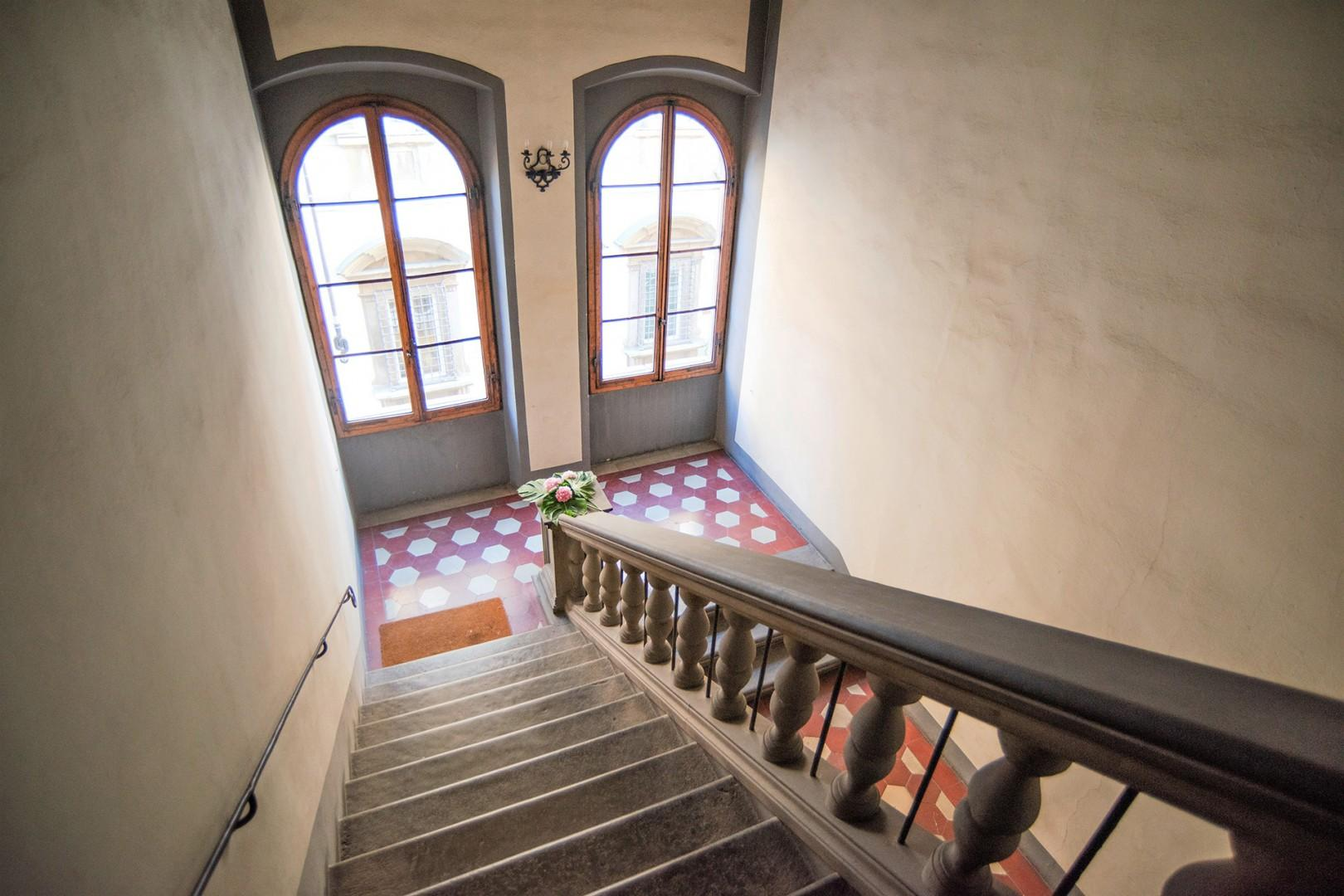 Grand staircase from entry to Piano Nobile. 50 steps.