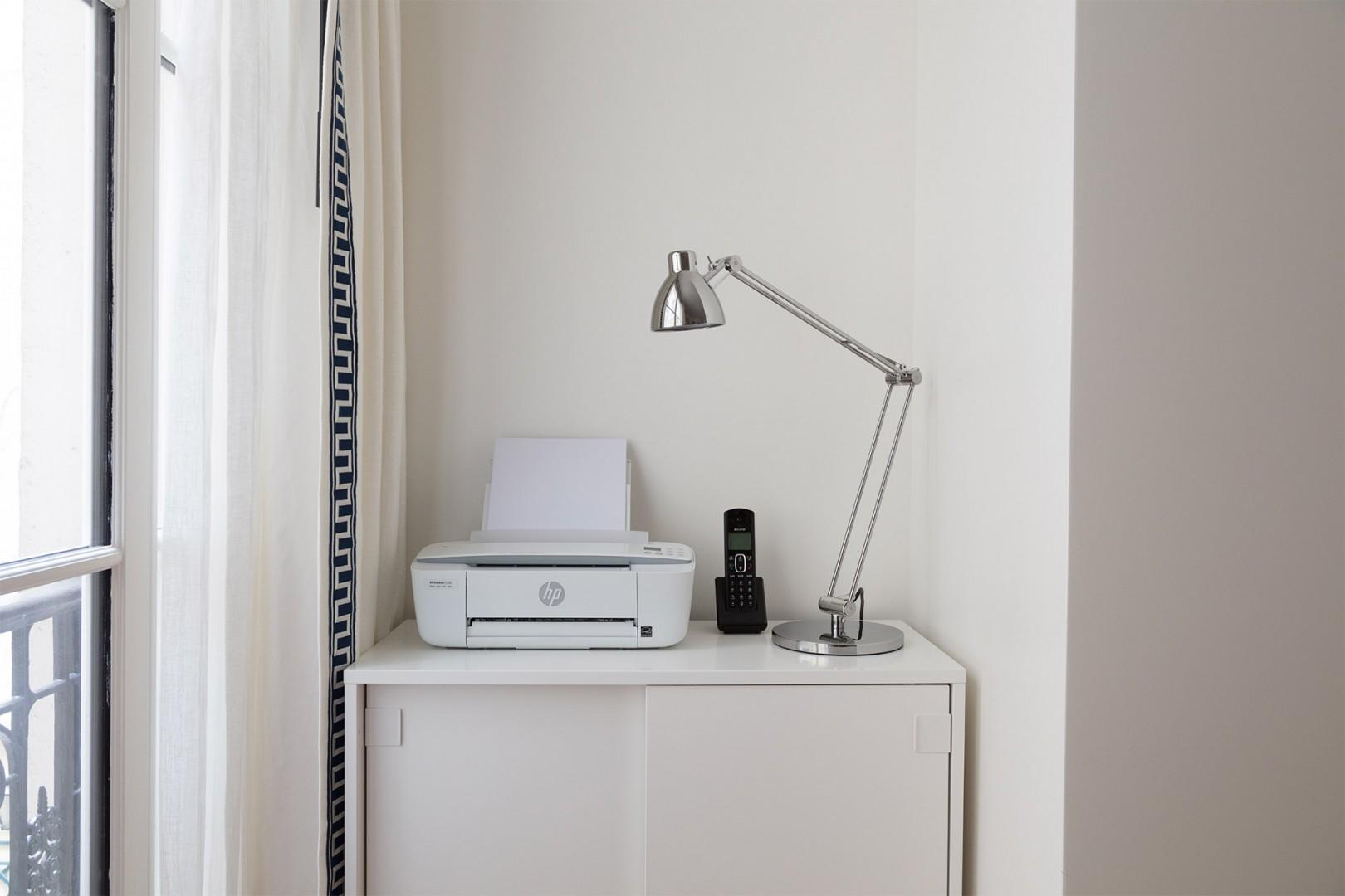 Printer and phone in bedroom 3