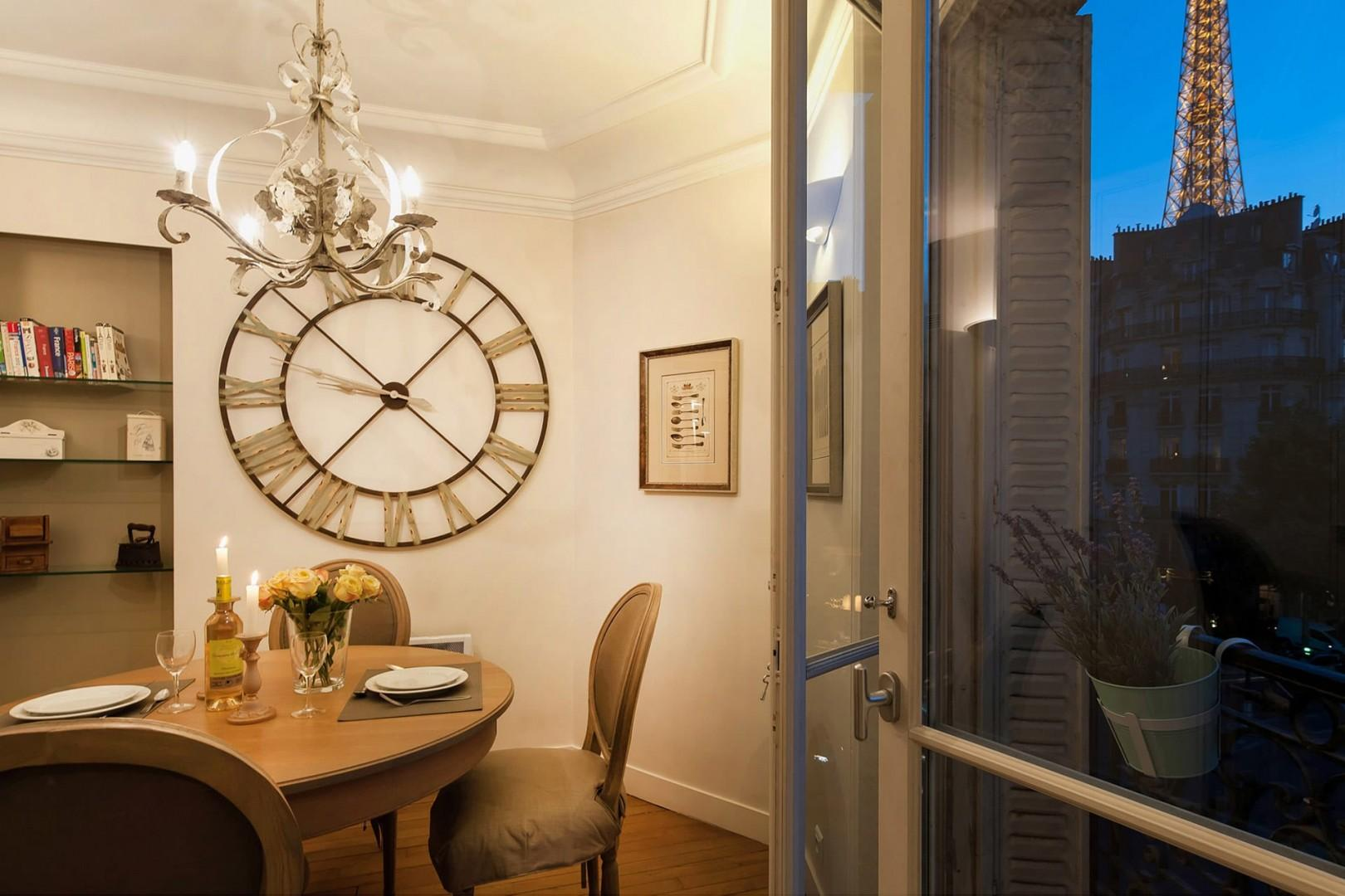 Enjoy stunning views of the Eiffel Tower from the kitchen.