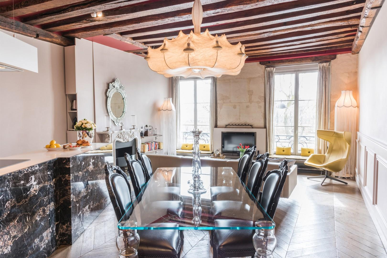 Gather for home-cooked meals in this elegant dining area.