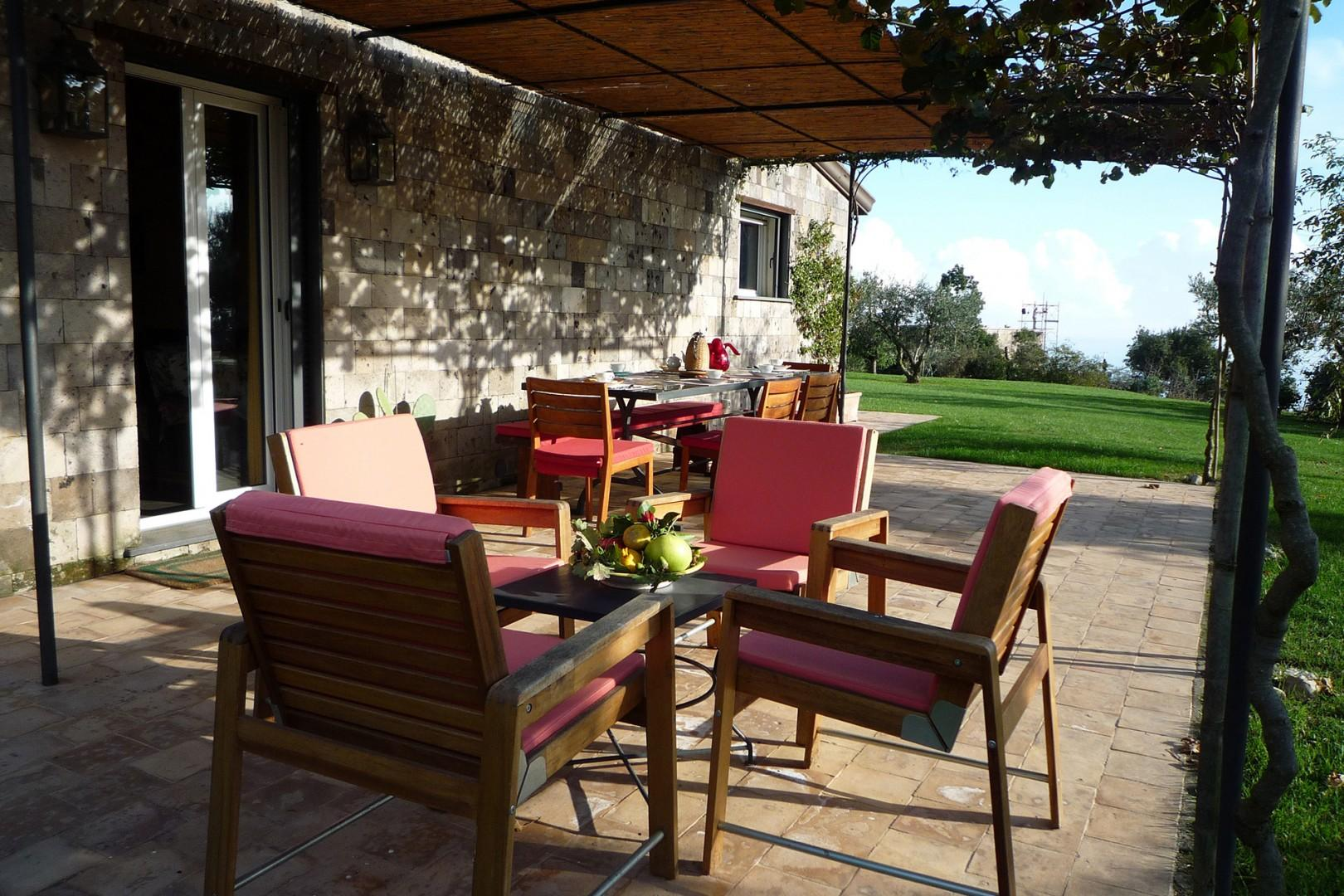 Plenty of outdoor seating on the terrace.