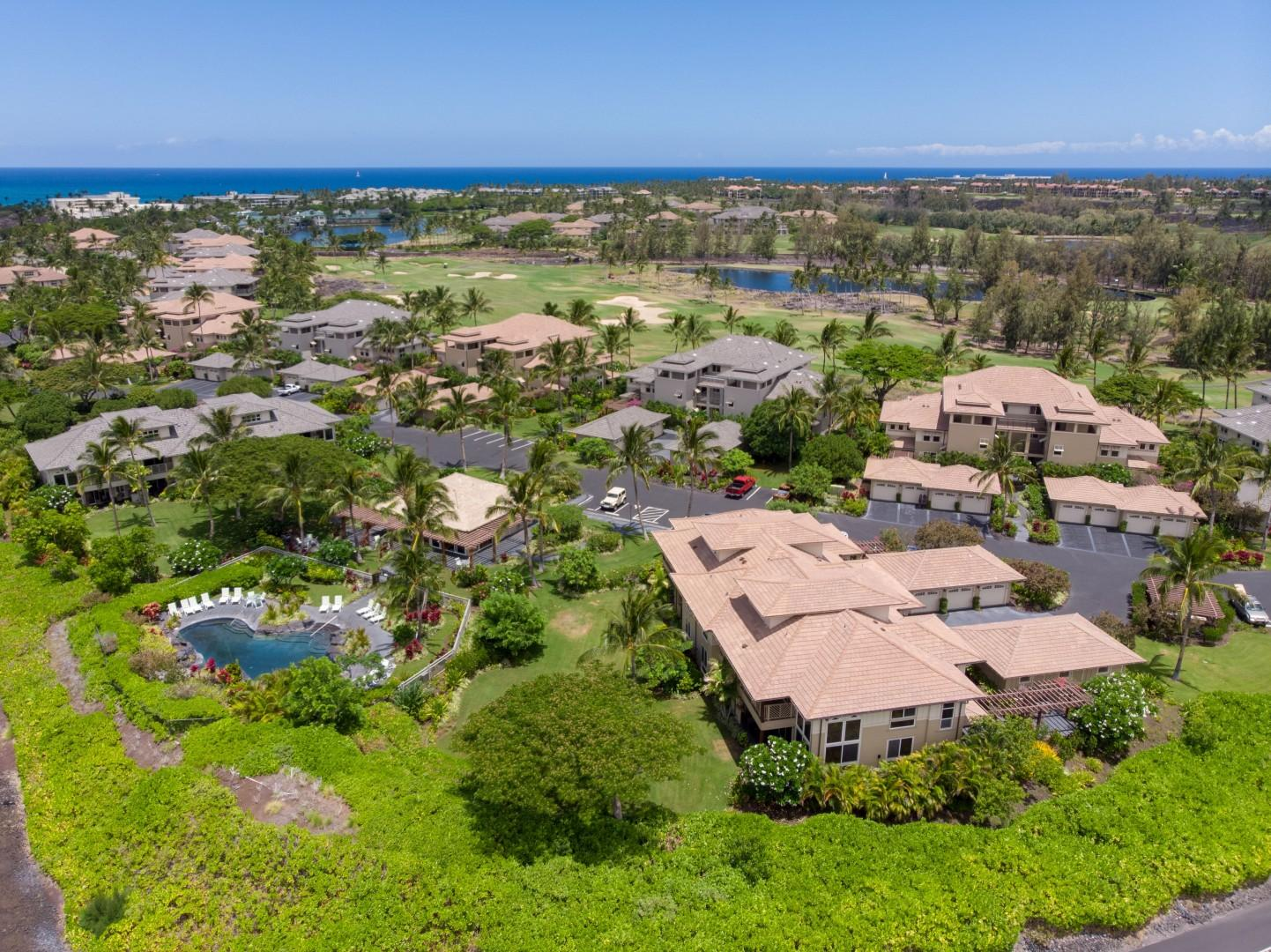 Aerial View of the Villa at the Quiet End of the Complex
