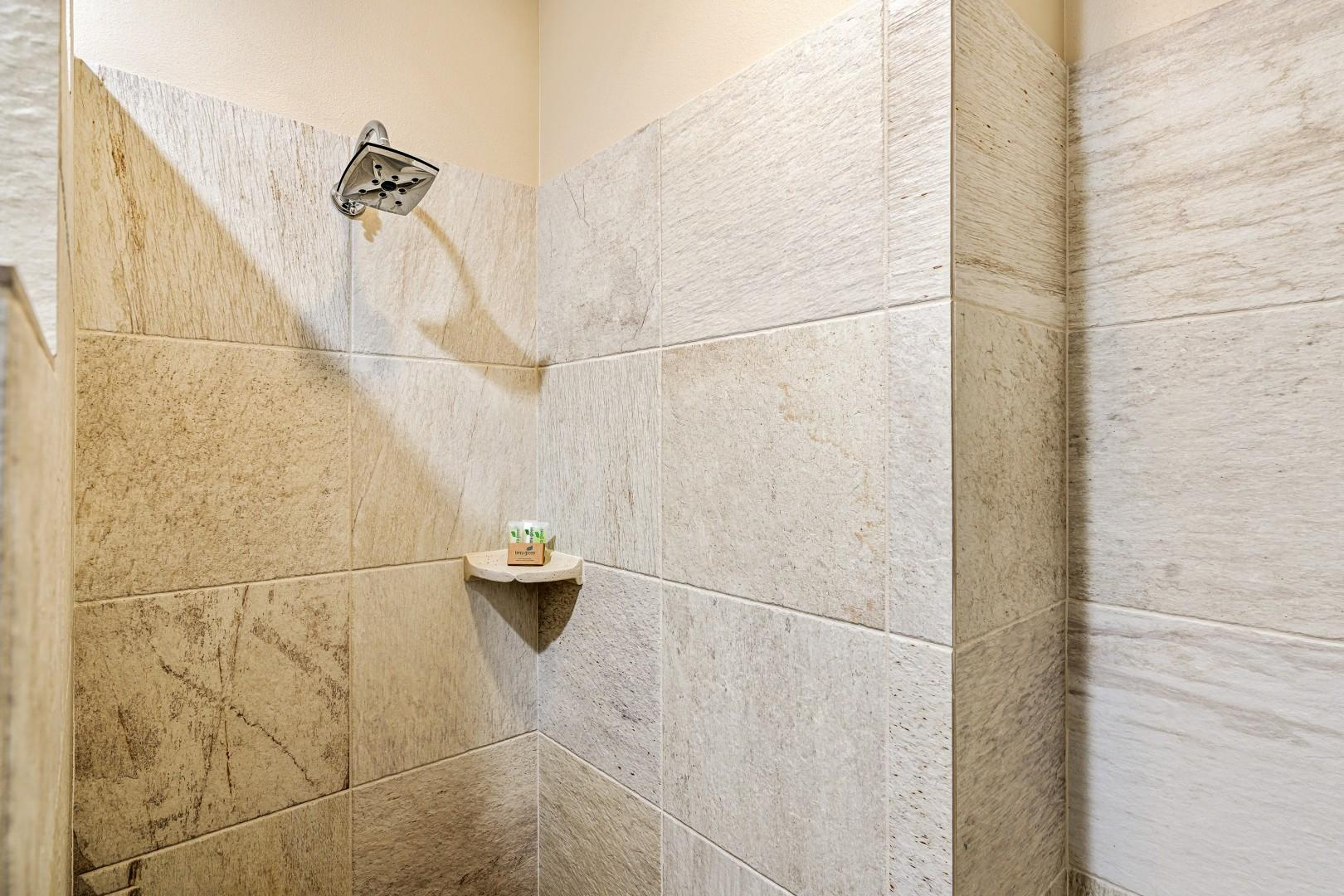 Walk in shower in the guest bedroom