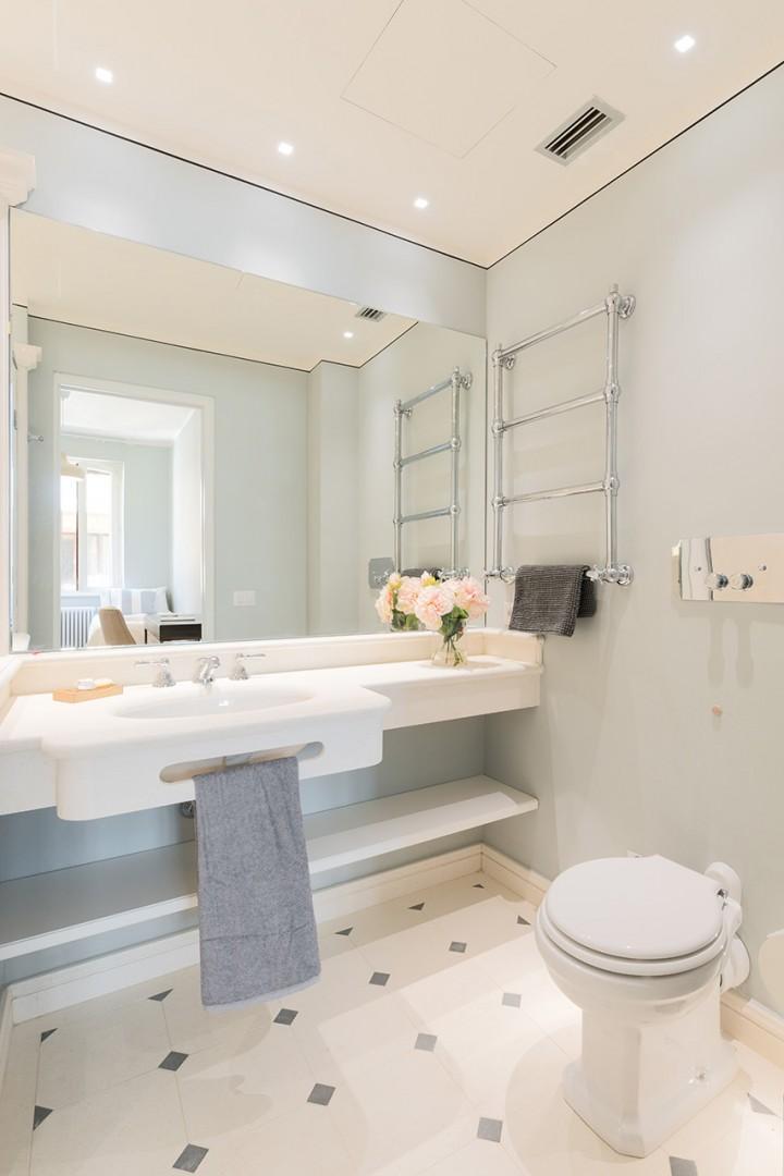 Winter heated towel racks in bathrooms for your comfort.