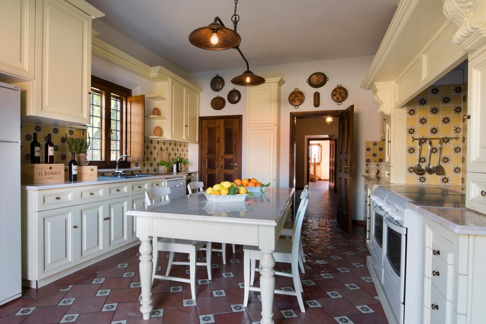 Tuscan style eat-in kitchen.