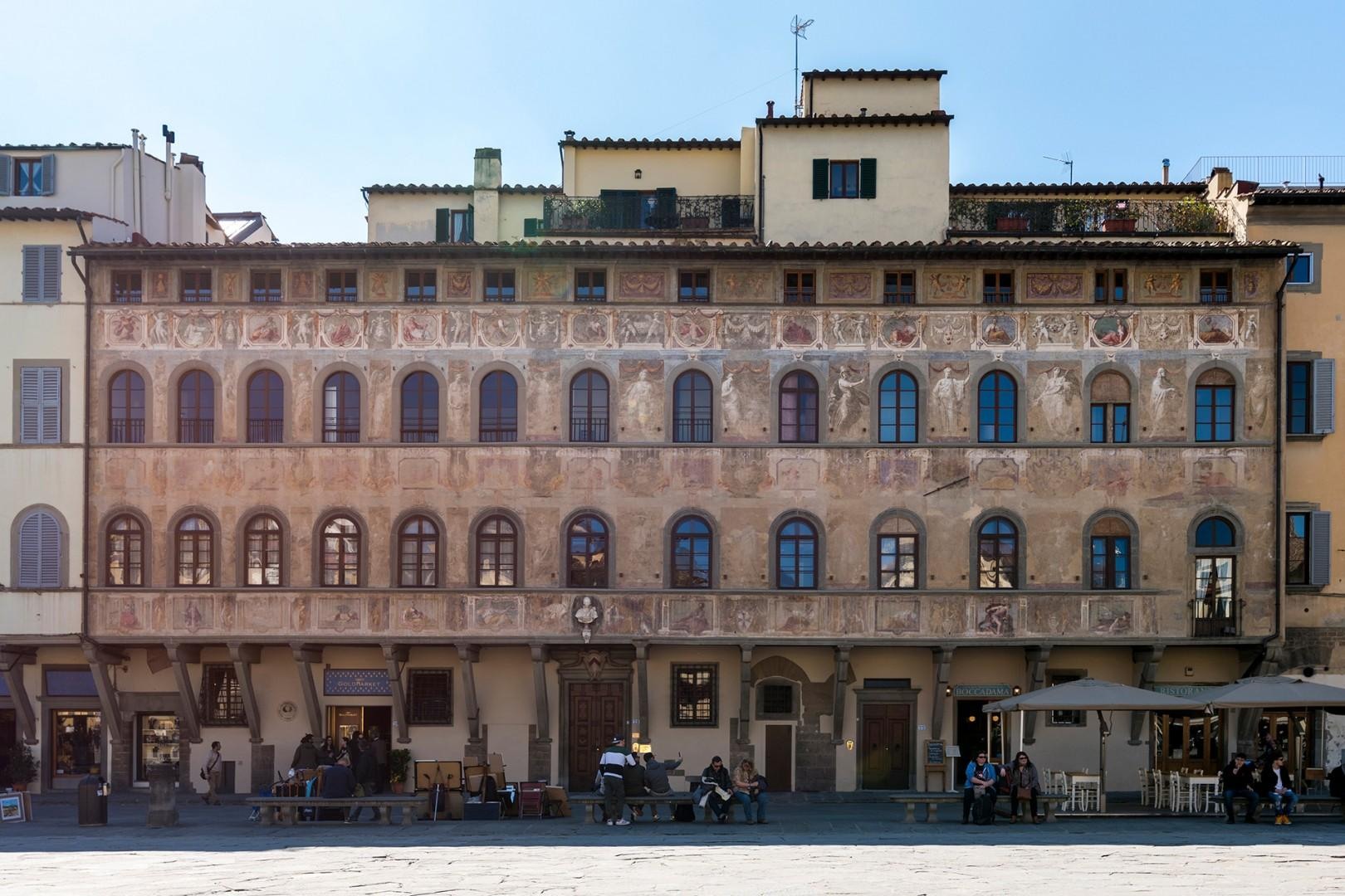 Imagine staying in this historic palace. The exterior is decorated with colorful frescoes from 1620.