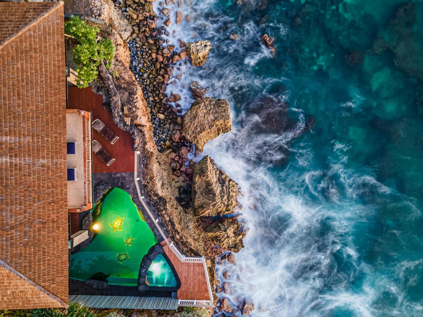Aerial view of the oceanfront pool deck