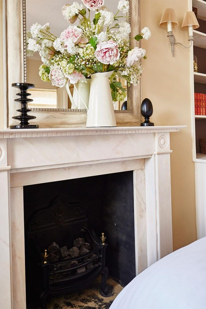 Marble fireplace in the Victoria