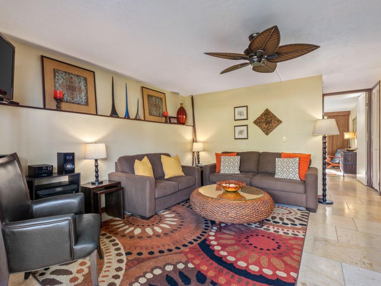 Queen sleeper sofa equipped living room!