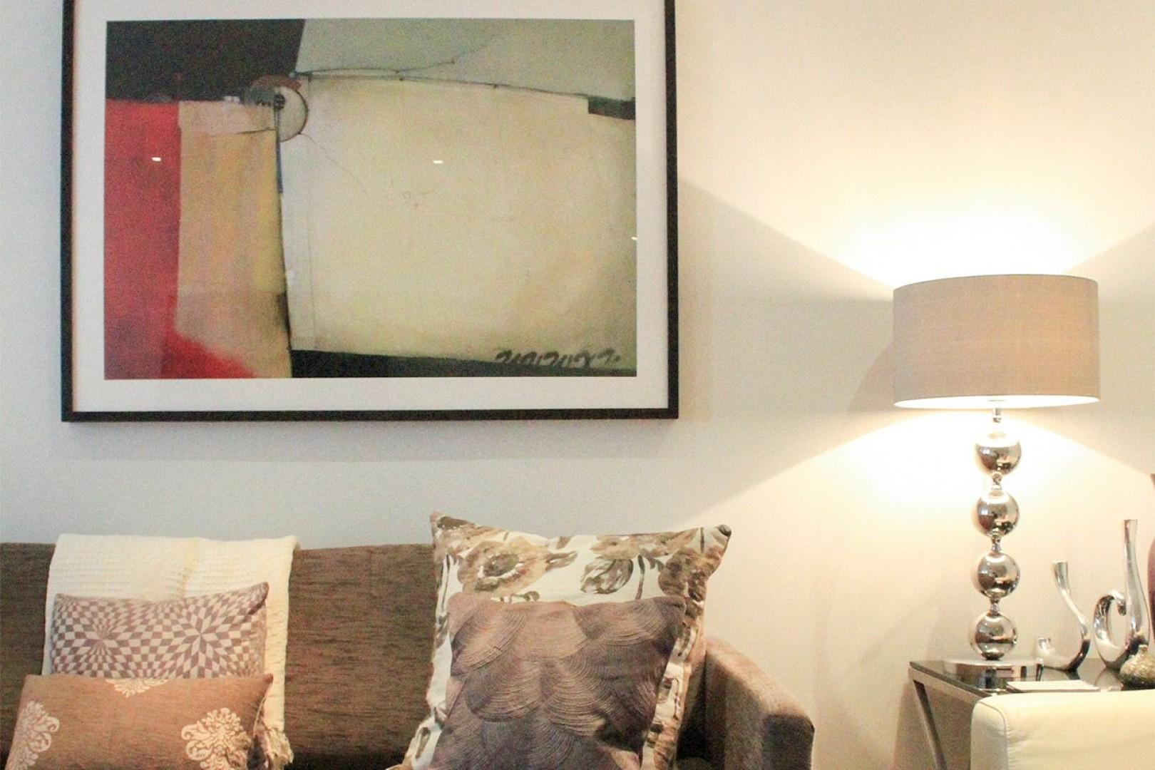 Modern paintings throughout the apartment