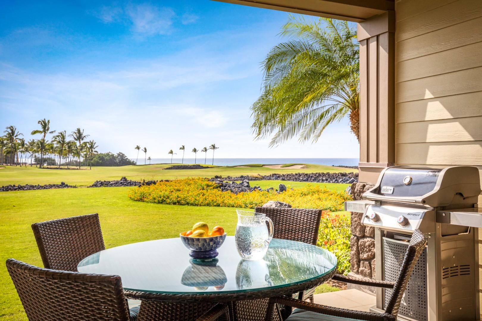 Ocean and rolling golf course views from your outdoor dining area equipped with a BBQ grill.
