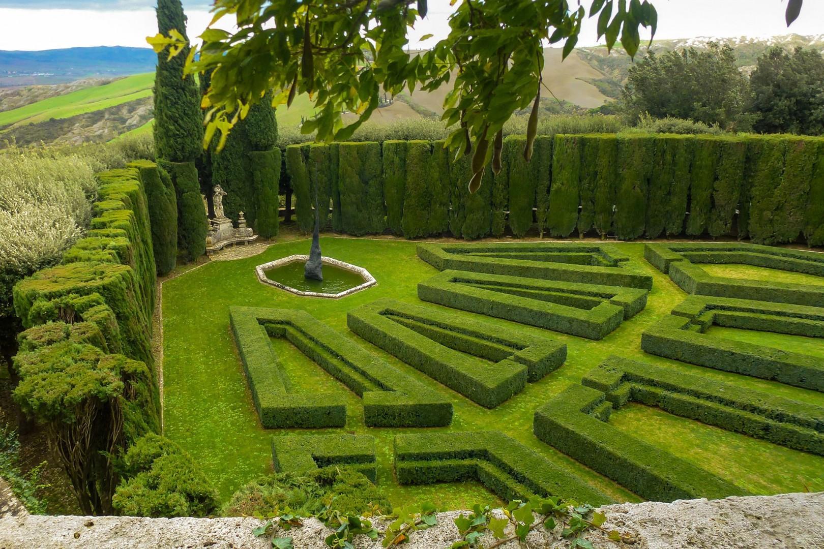 Formal English gardens at the main villa.