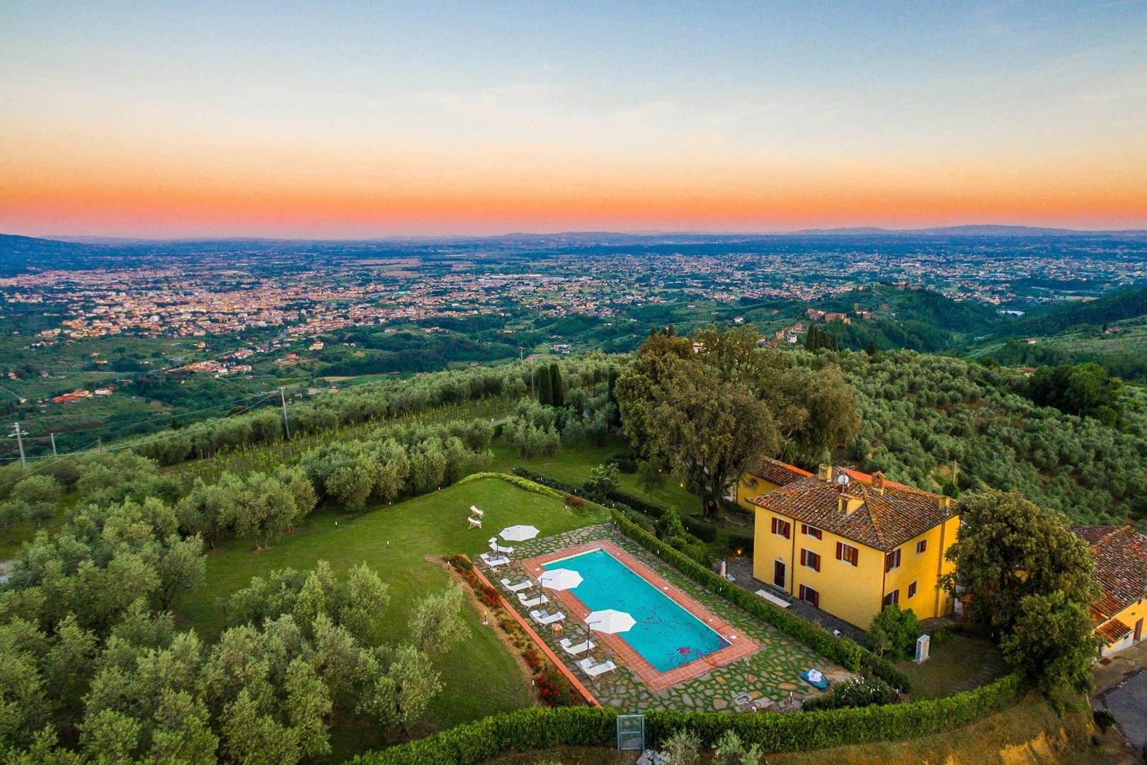 The property has large olive groves and produces its own oil.