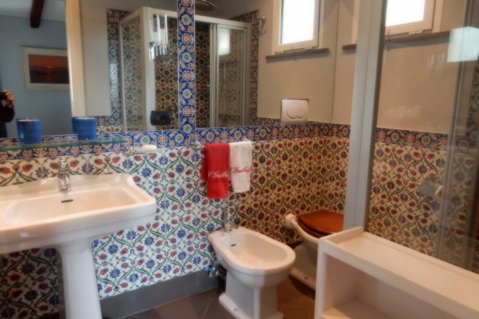 Bathroom is directly across the hall from bedroom 3. Large shower, sink, bidet and toilet.