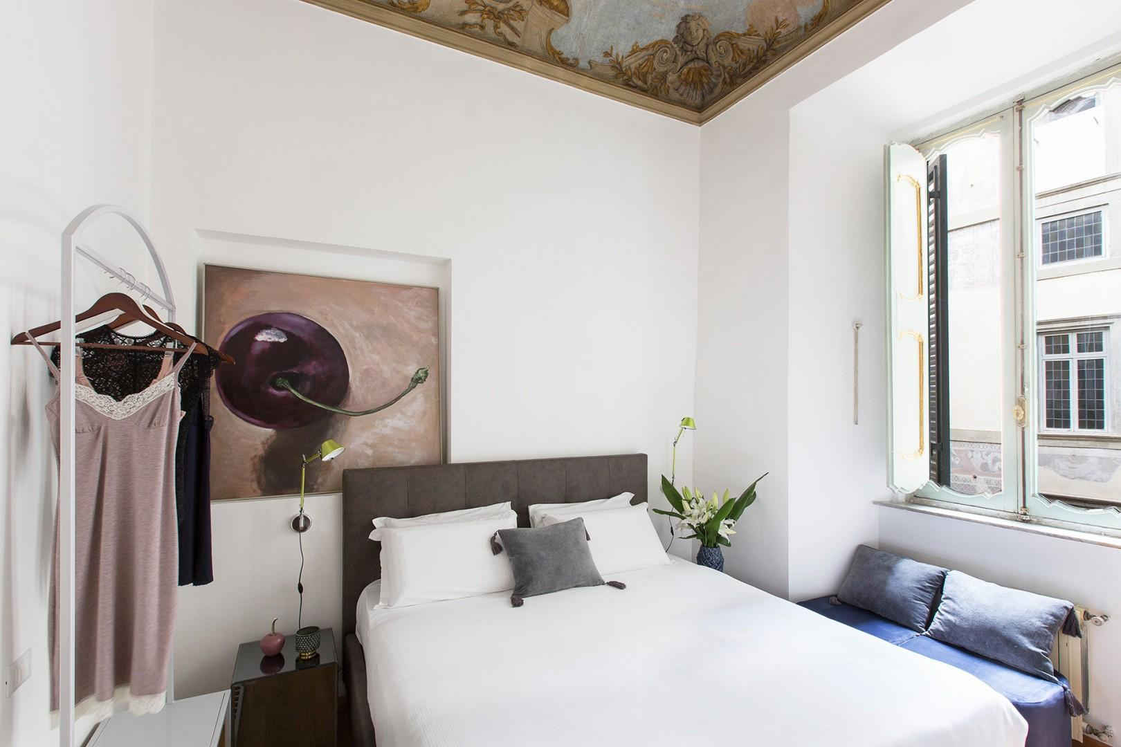Bedroom 3 has charming frescoes of angles on the ceiling by famous baroque artist Nicolas Poussin.