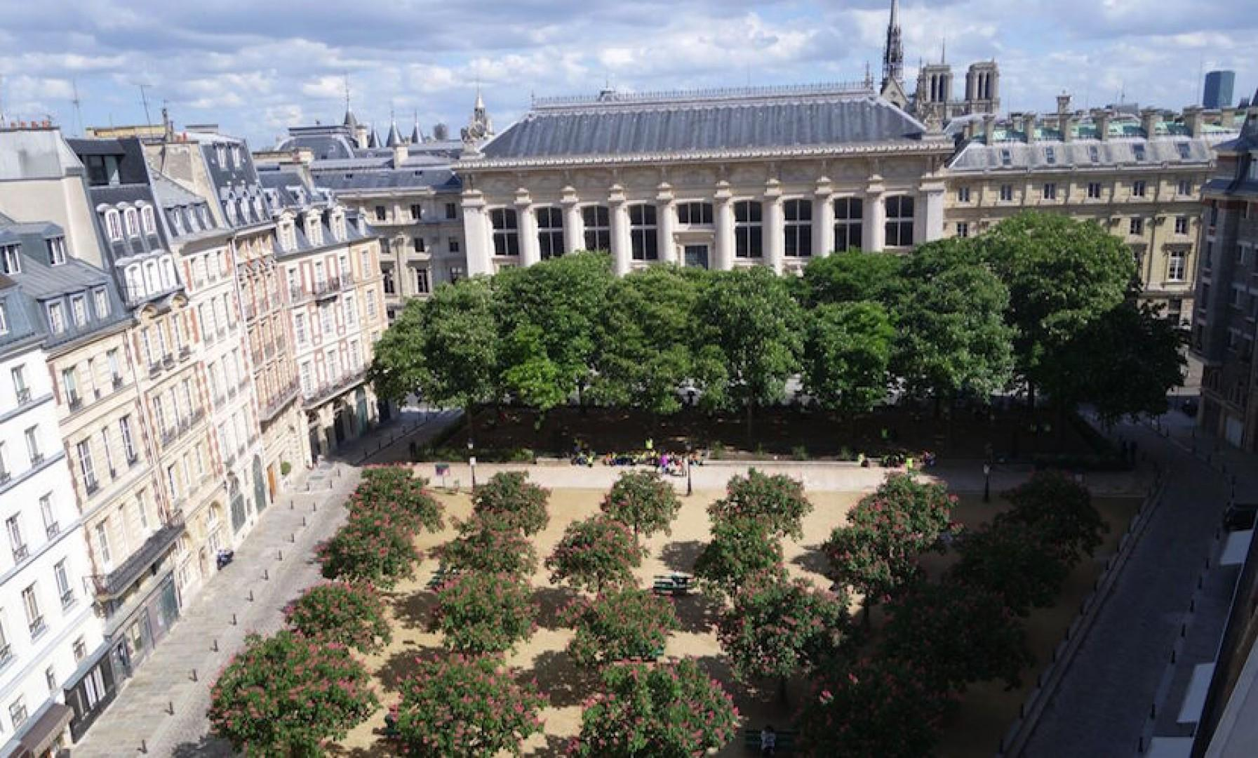 View overlooking the beautiful Place Dauphine in Paris