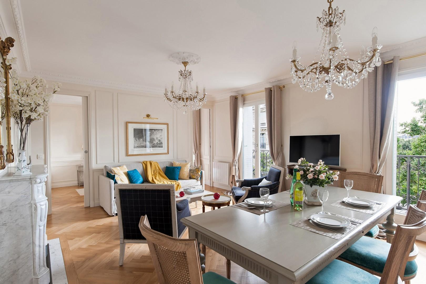 The open-plan living and dining area is perfect for entertaining.