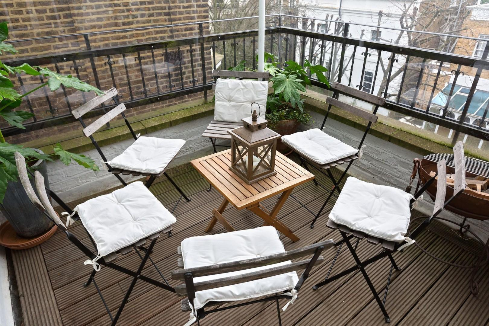 Balcony seating is perfect for entertaining