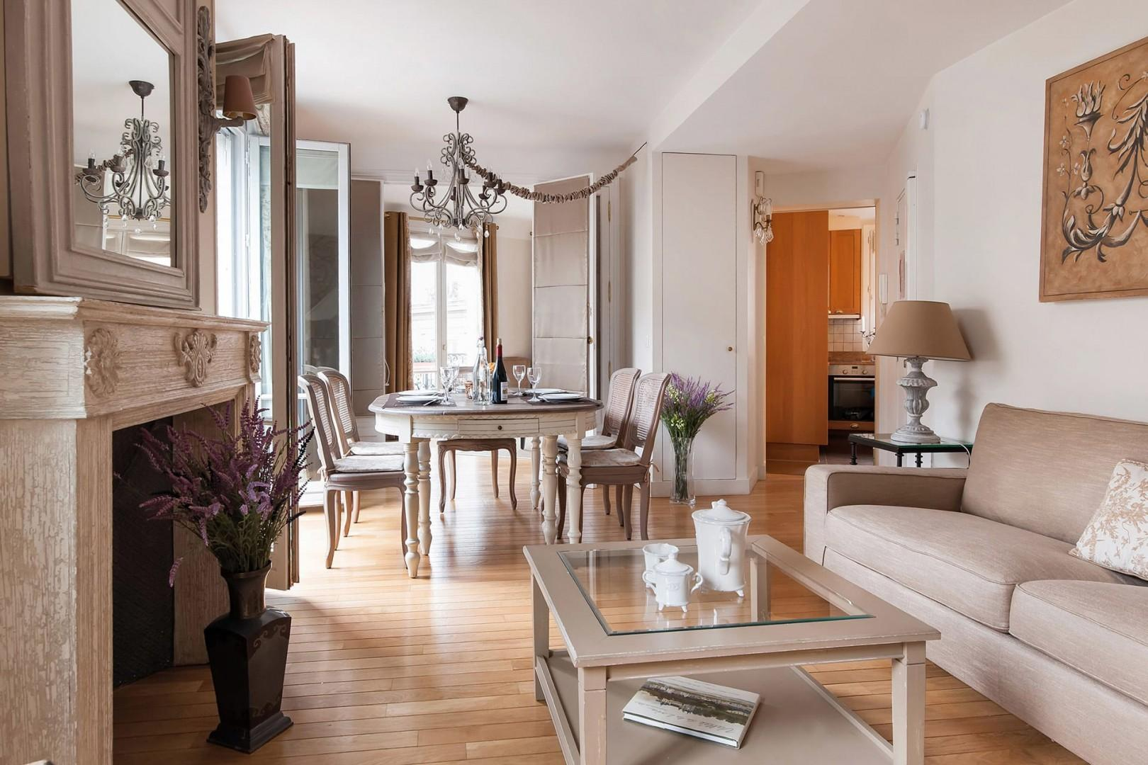 The spacious open-plan living and dining area is great for entertaining.