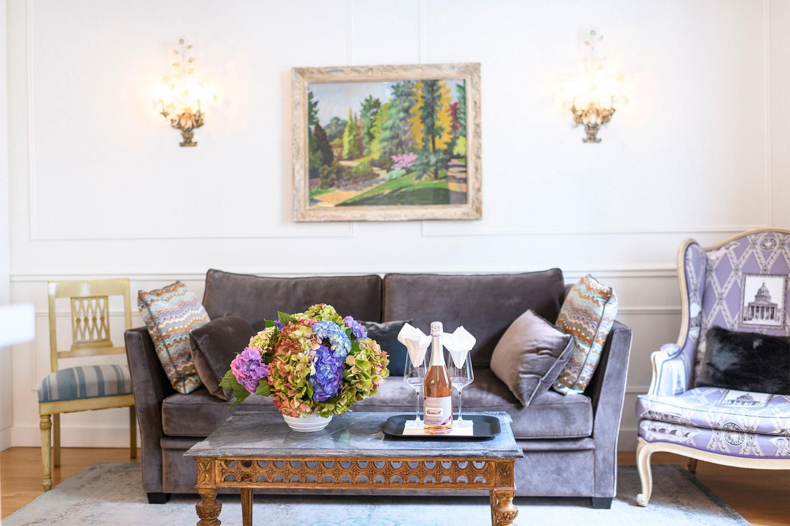 Relax in the elegant living room.