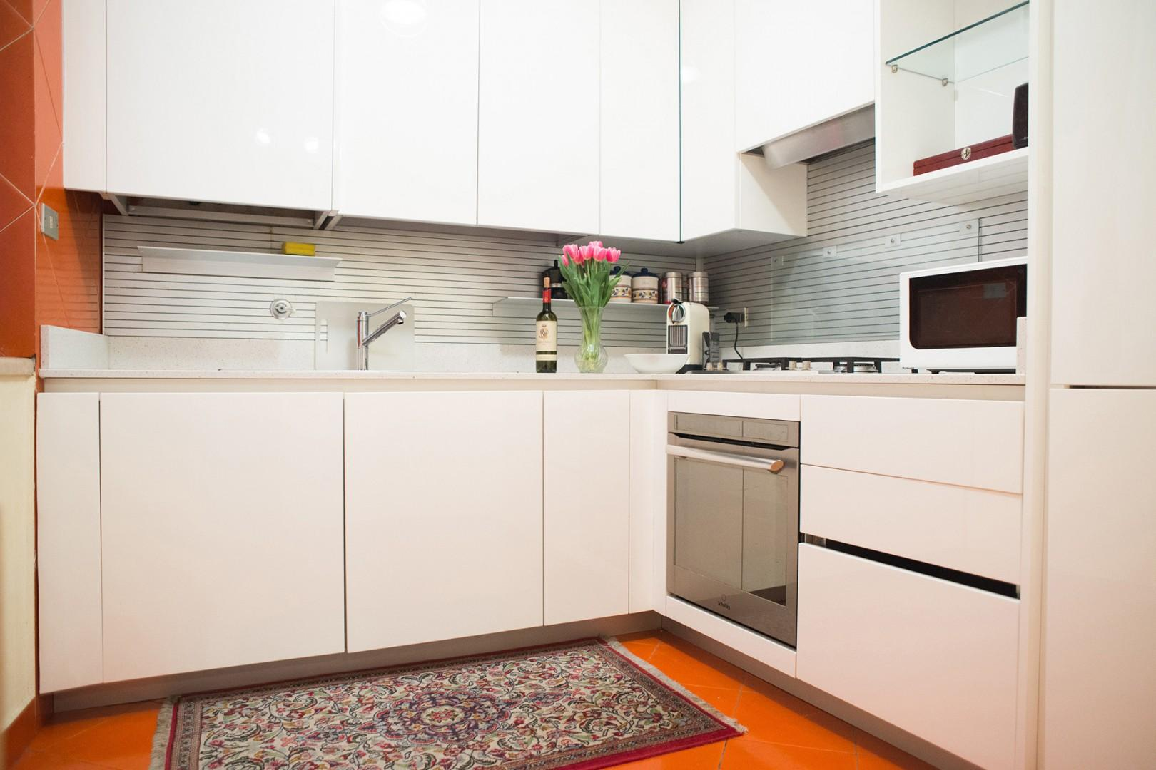 The kitchen is as large as they get in the city center.