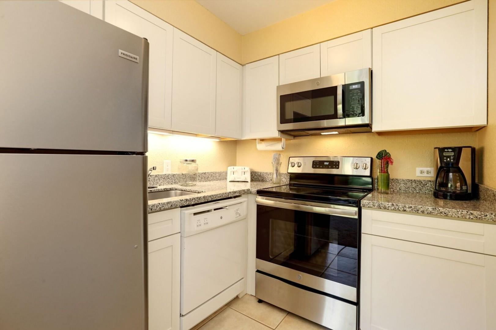 Fresh updated kitchen with stainless steel appliances