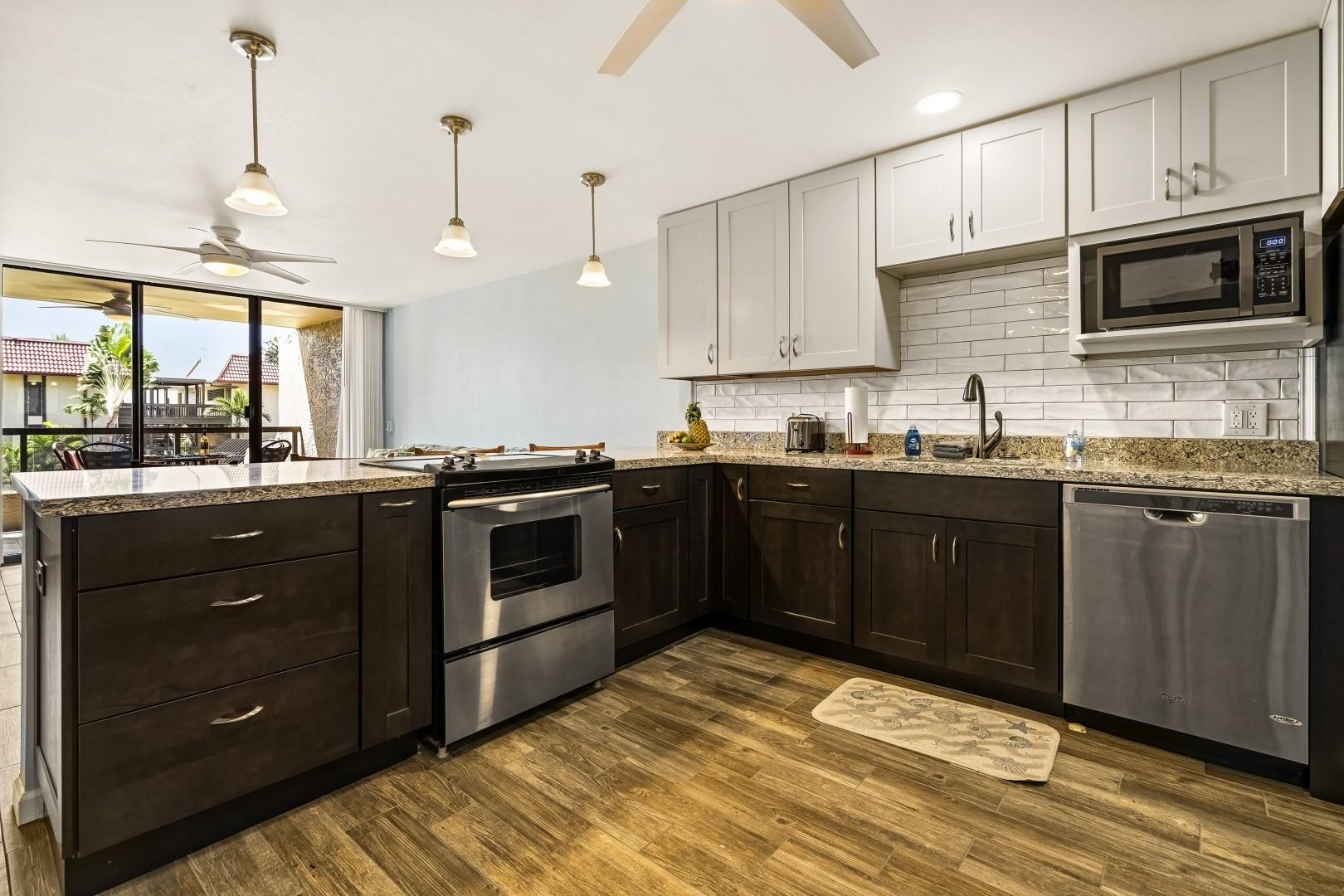 Fully renovated kitchen with open sightlines