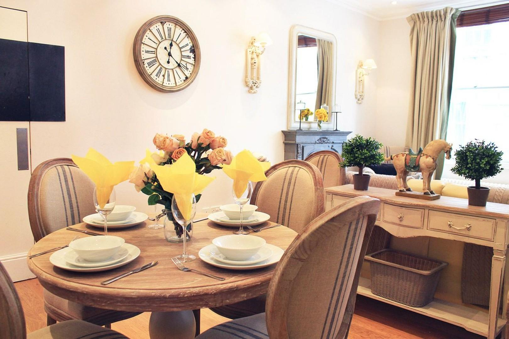 Enjoy elegant dining at home during your stay in London