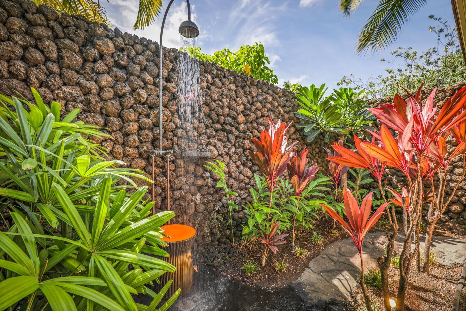Outdoor shower garden in Guest Room 4.
