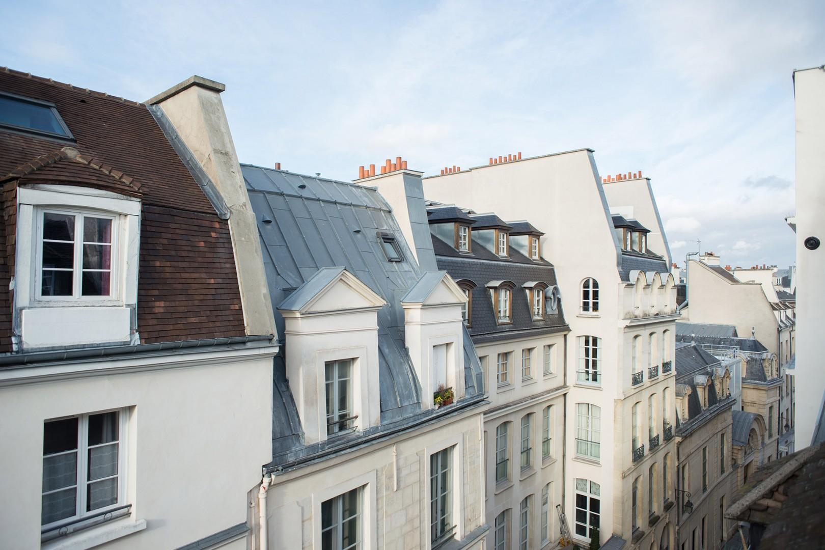 The apartment situated in the stunning Marais neighborhood.