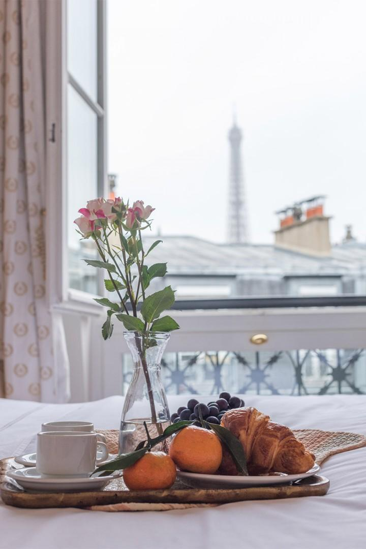 Spoil yourself with breakfast in bed with Eiffel Tower views!