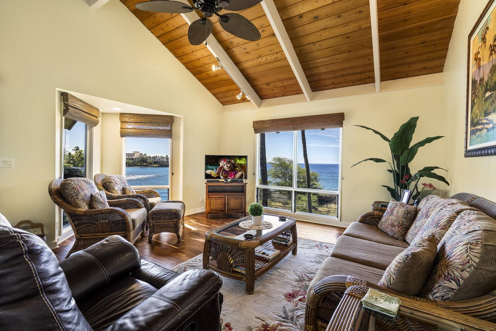 Take your pick between watching the TV or the ocean in the distance