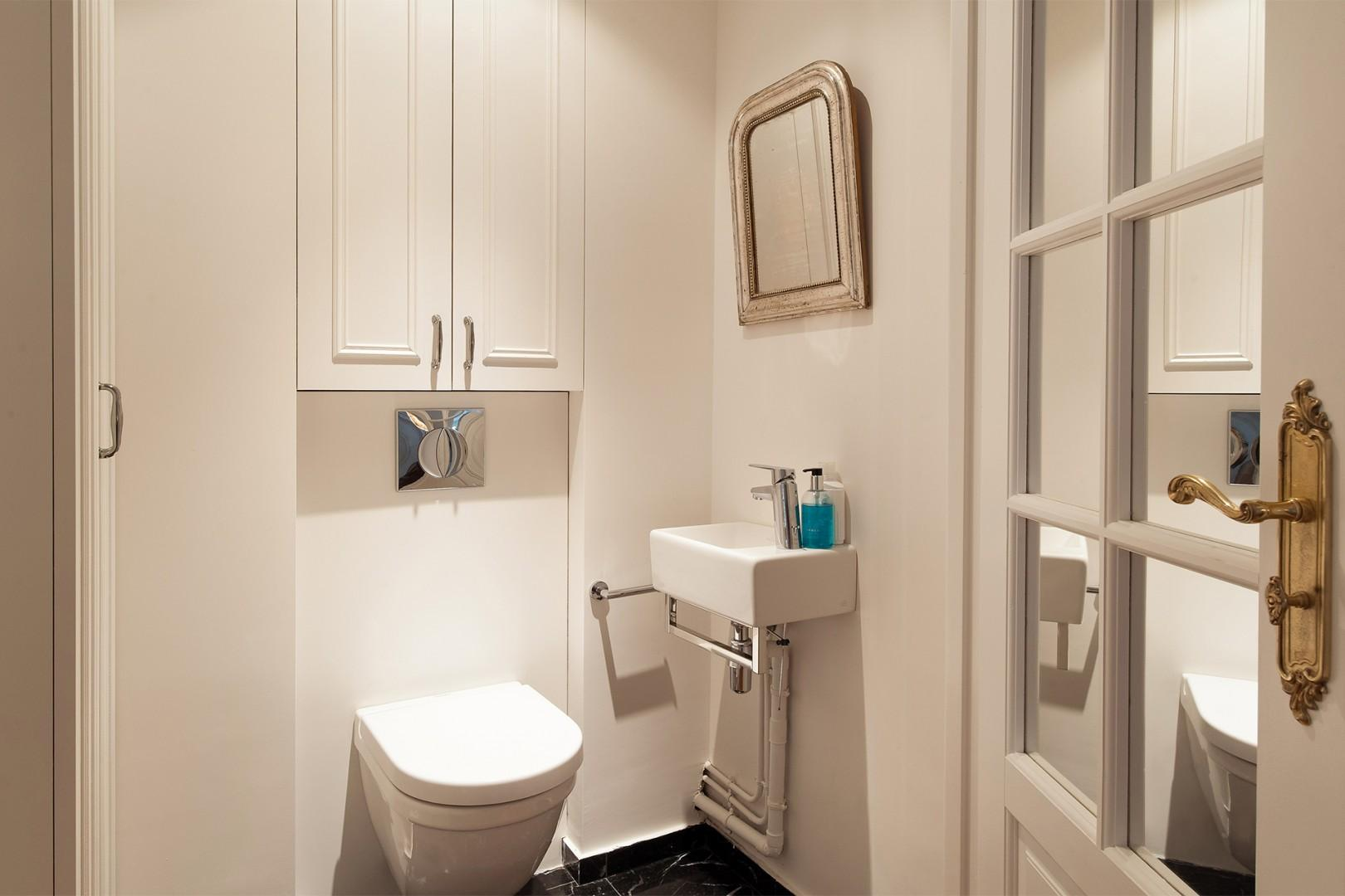 The separate half bath has a toilet and sink.
