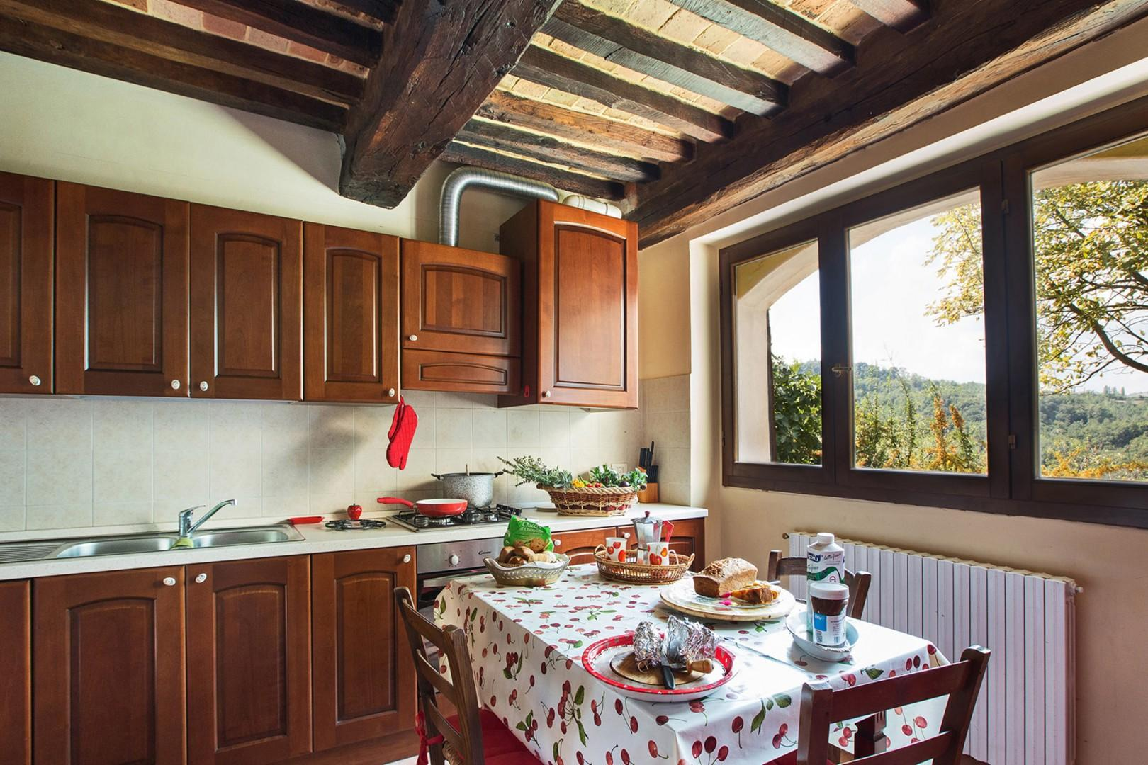 Complete eat-in kitchen with beautiful view.