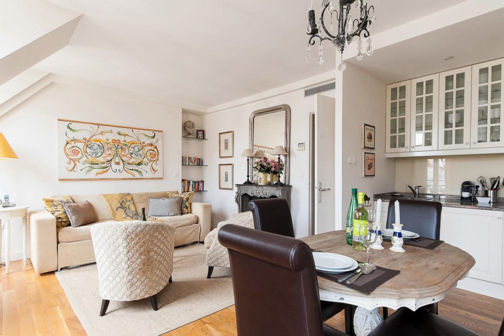 Relax in the bright and sunny living and dining area.