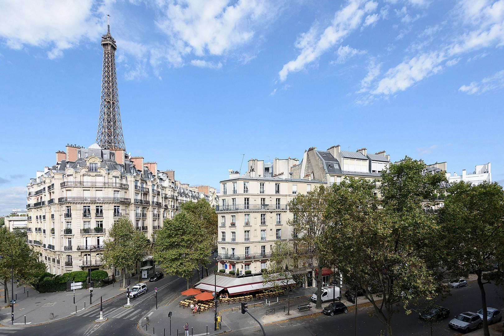 Enjoy stunning views of surrounding buildings and the Eiffel Tower.