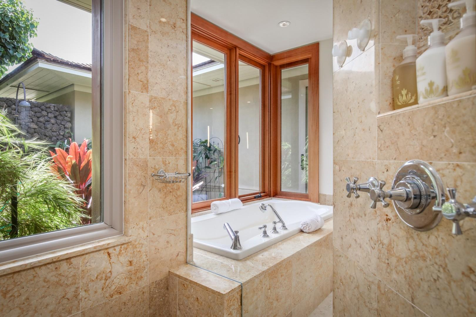 View of the master tub from the large walk-in shower.