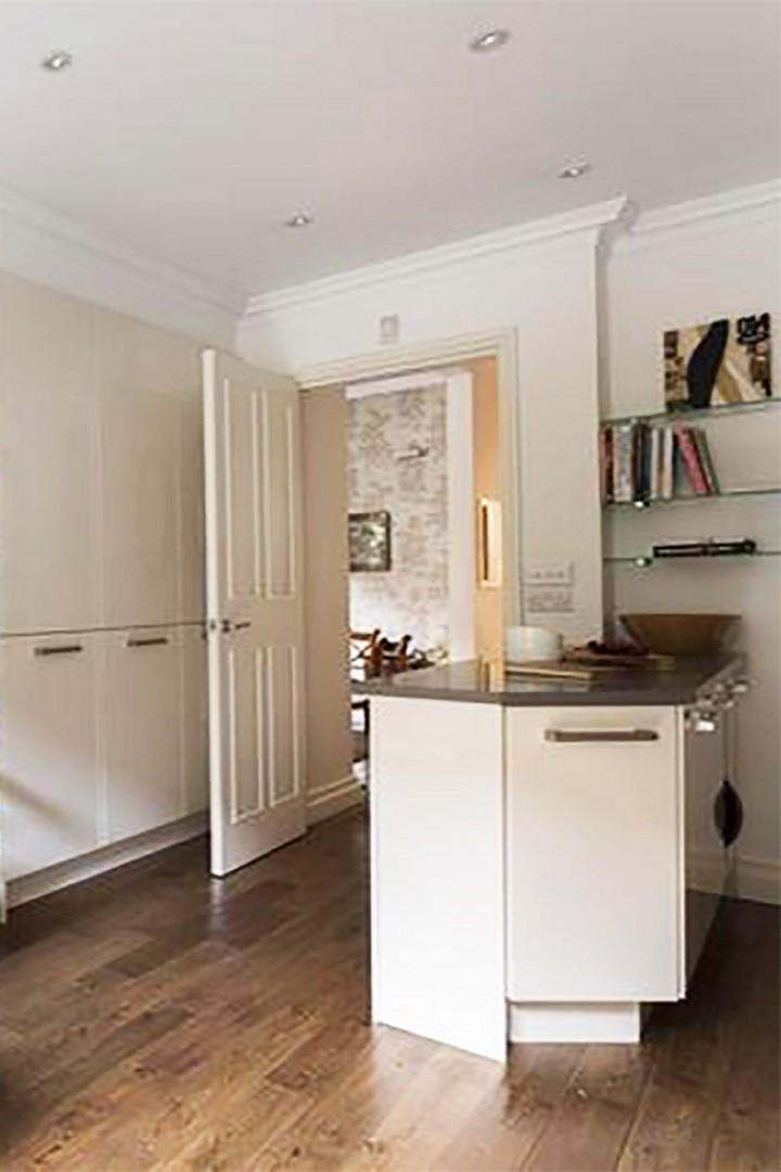 Extra kitchen counter near the door