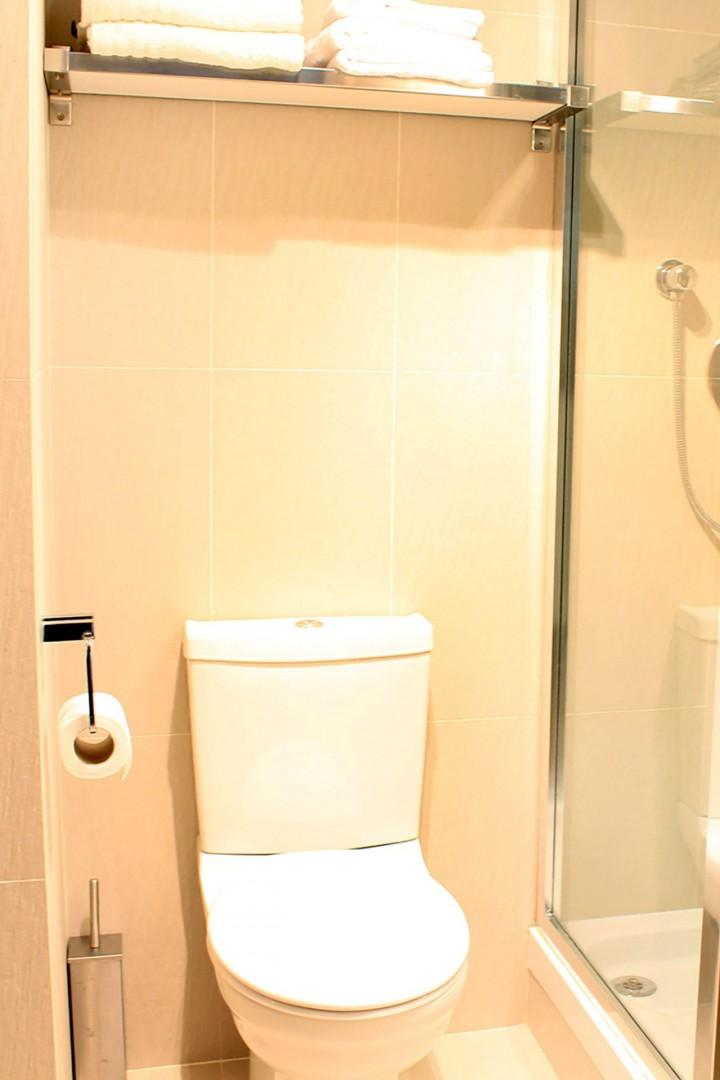 Apartment has one bathroom with shower, toilet and sink