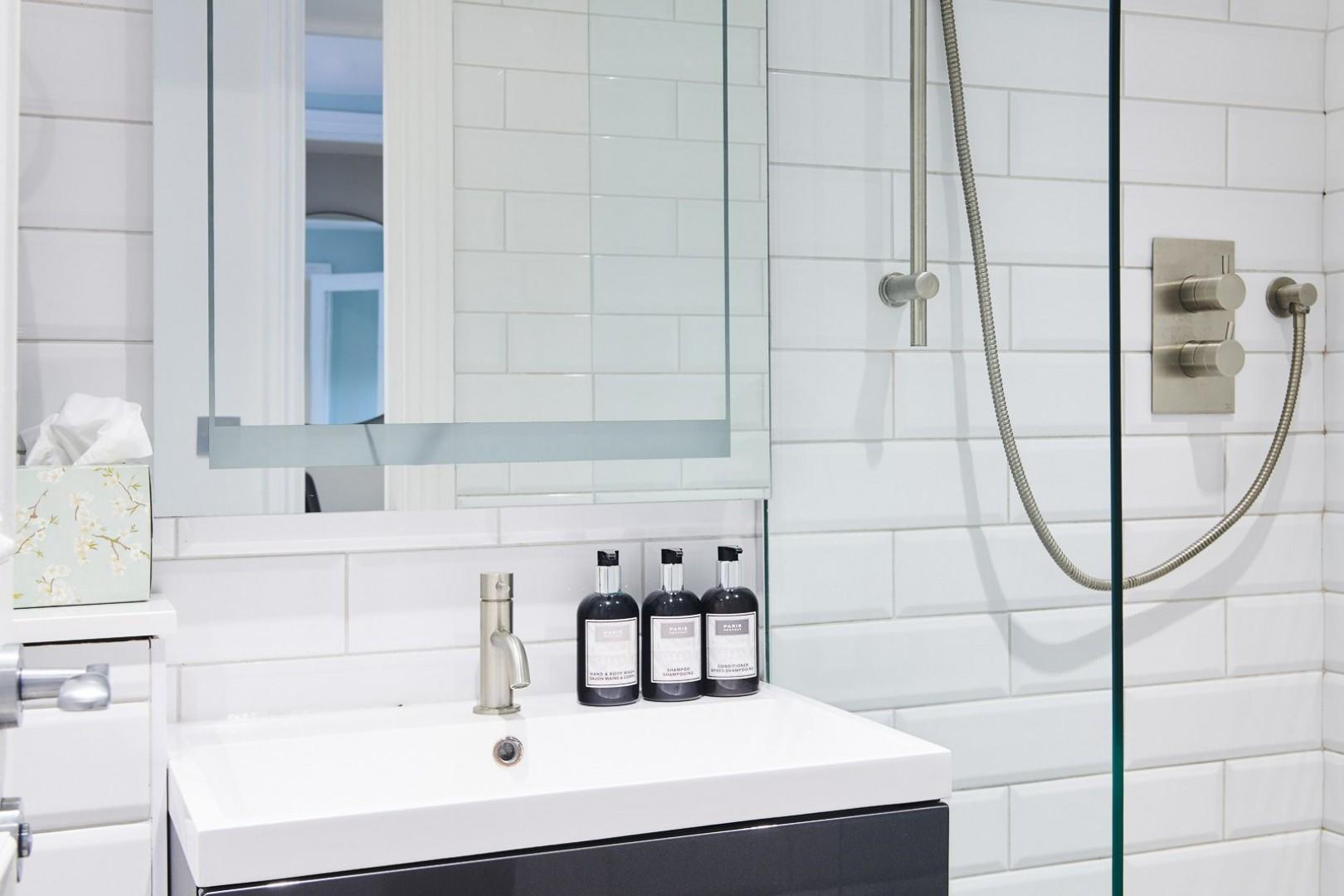 High-end finishes and products in the first floor bathroom