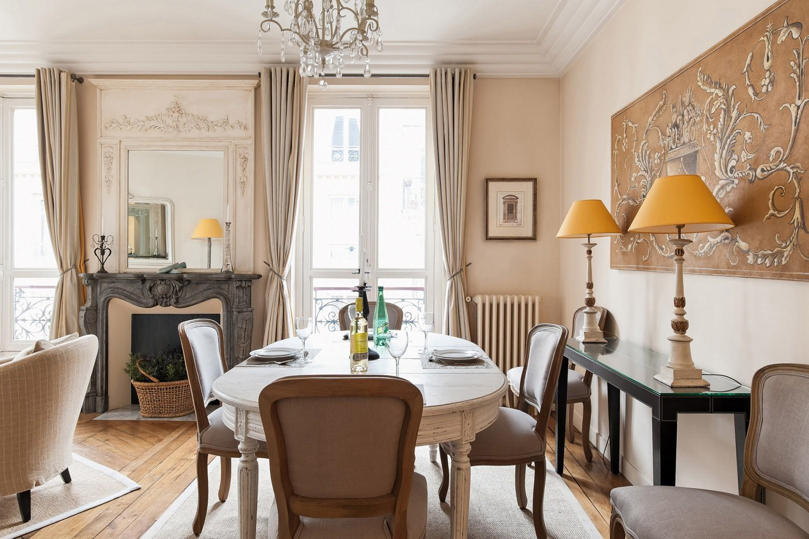 Enjoy meals in the comfort of your own Parisian apartment.