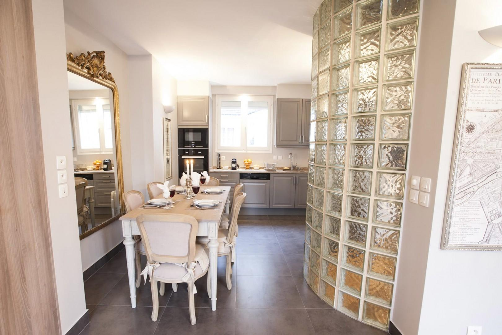 View from the dining area towards the kitchen