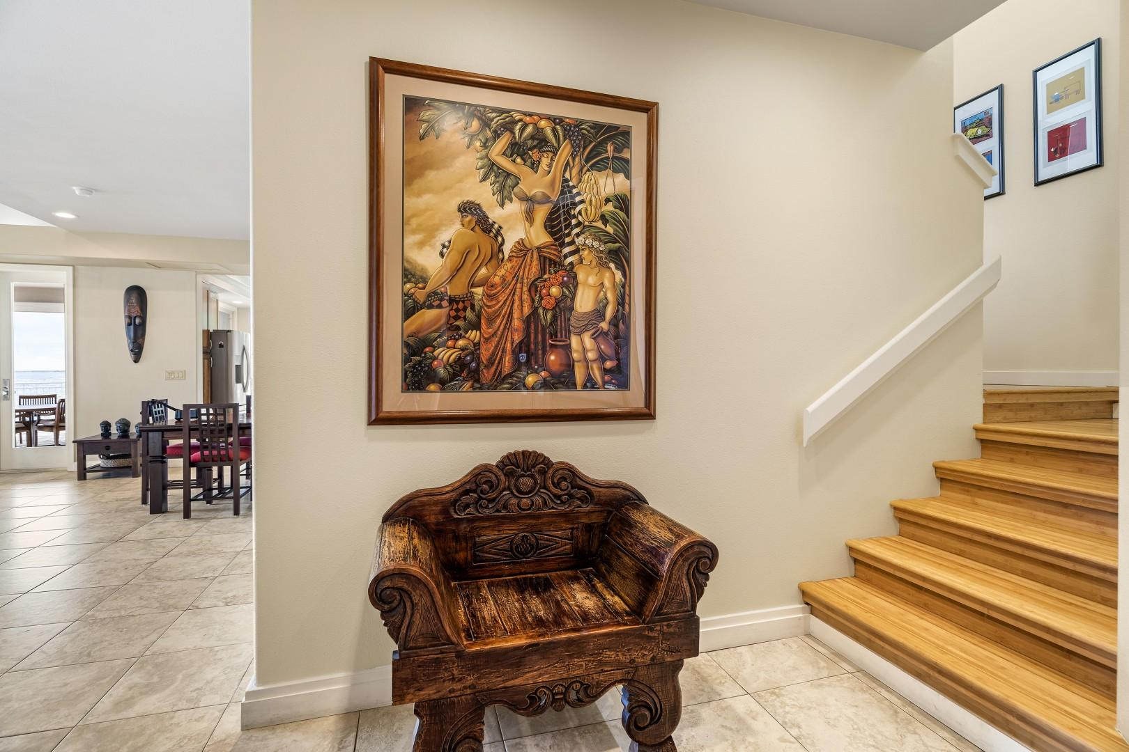 Foyer with Indonesian touches