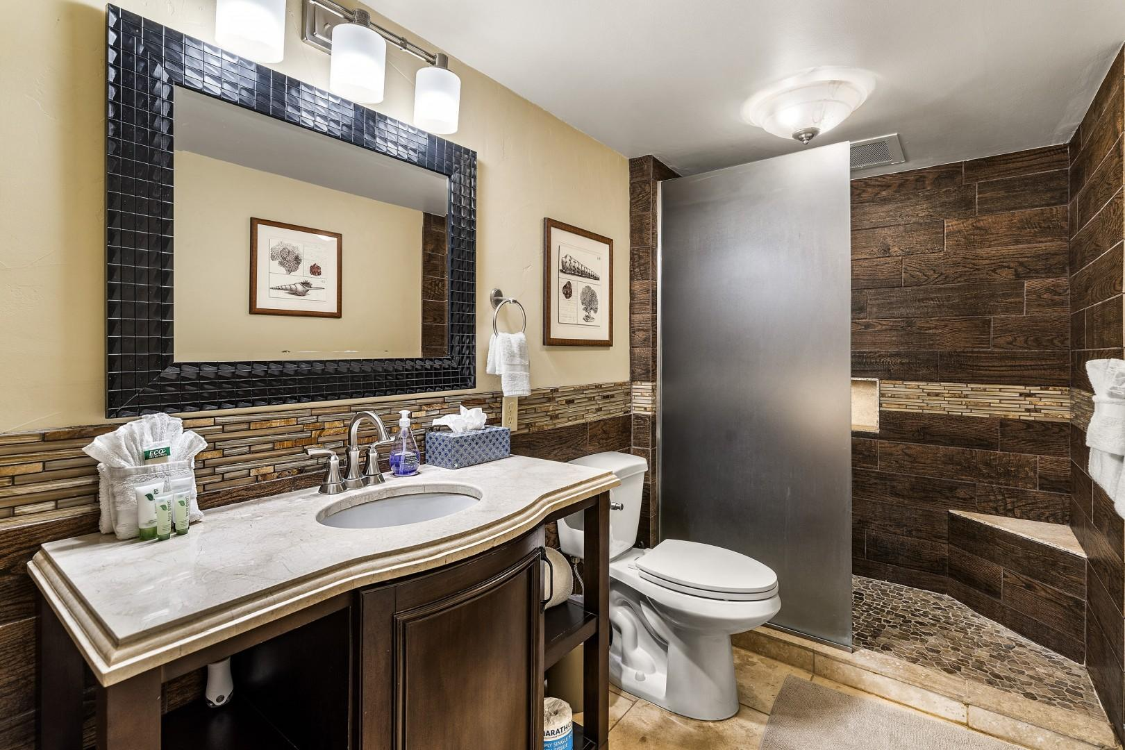 Renovated bathroom right outside the bedroom